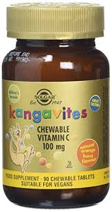 Solgar Kangavites Chewable Vitamin C 100 mg Tablets Natural Orange Burst Flavour