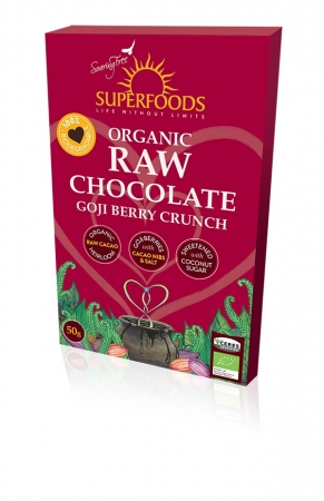 Feel Healthy Superfoods Organic Raw Chocolate - Goji Berry Crunch 50g