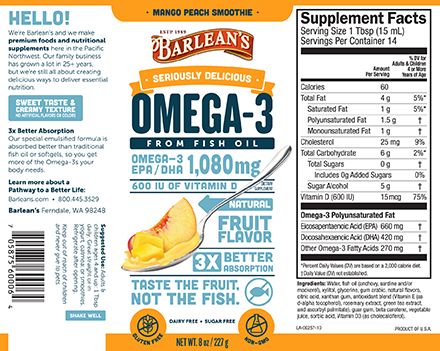 Barleans Seriously Delicious™ Omega-3 Fish Oil Mango Peach Smoothie Label