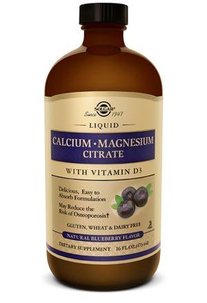 Solgar Liquid Calcium Magnesium Citrate with Vitamin D3 - Natural Blueberry Flavor