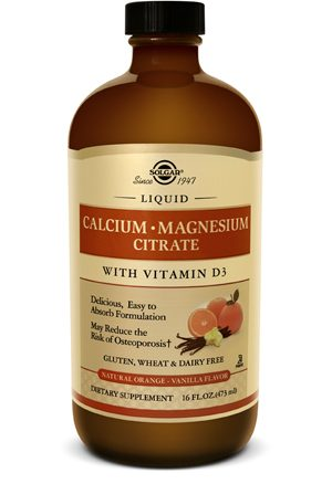Solgar Liquid Calcium Magnesium Citrate with Vitamin D3 - Natural Orange-Vanilla Flavor
