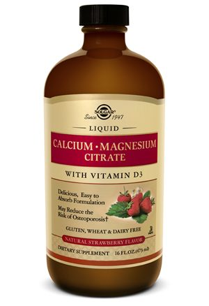 Solgar Liquid Calcium Magnesium Citrate with Vitamin D3 - Natural Strawberry Flavor