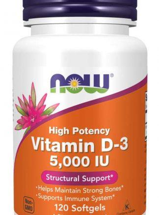 Now Vitamin D 3 5000iu 120 Softgels